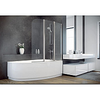 Штора на ванну BESCO Ambition -3S 123х140 хромированная