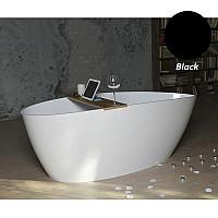 Черная ванна отдельностоящая Fancy Marble Dolores 170x77 из литого камня